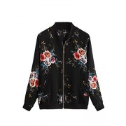 Verdusa Women's Casual Floral Printed Zip up Bomber Jacket Outwear - Outerwear - $15.99