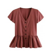Verdusa Women's Casual V Neck Single Breasted Ruffle Hem Peplum Blouse Tops - Košulje - kratke - $18.99  ~ 120,64kn