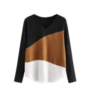 Verdusa Women's Color Block V Neck Long Sleeve Textured Tee Top - Shirts - $15.99