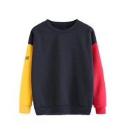Verdusa Women's Colorblock Sweatshirt Long Sleeve Pullovers Tops Shirt - Shirts - $16.99