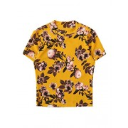 Verdusa Women's Floral Print Mock Neck Cap Sleeve Fitted T-Shirt Top - Košulje - kratke - $13.99  ~ 88,87kn
