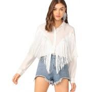 Verdusa Women's Fringe Trim Long Sleeve Button Up Blouse Shirt Top - Shirts - $26.99