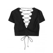 Verdusa Women's Lace Up Back Deep V Neck Short Sleeve Lace Crop Top - Košulje - kratke - $12.99  ~ 82,52kn