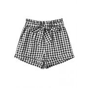 Verdusa Women's Paperbag Tie Waist High Waist Plaid Shorts - Shorts - $15.99