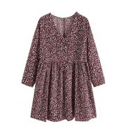 Verdusa Women's Plus V Neck Long Sleeve Floral Print Buttoned Ruffle Dress - Vestiti - $23.99  ~ 20.60€