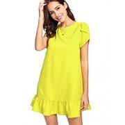 Verdusa Women's Round Neck Petal Short Sleeve Ruffle Hem Tunic Dress - Dresses - $21.99