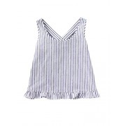 Verdusa Women's Scoop Neck Bow Back Ruffle Trim Striped Top - Camisa - curtas - $8.99  ~ 7.72€