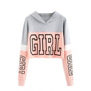 Verdusa Women's Sporty Graphic Color Block Pullover Hoodie Crop Sweatshirt - Shirts - $15.99