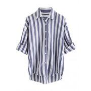 Verdusa Women's Striped Chest Pocket Button-Down Blouse Shirt - Shirts - $15.99