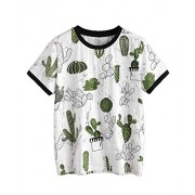 Verdusa Women's Summer Short Sleeve Cute Cactus Print Tunic T-Shirt Tops - Shirts - $10.99