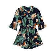 Verdusa Women's Surplice 3/4 Sleeve Floral Print Belted Romper Jumpsuit - Shorts - $21.99