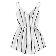 Verdusa Women's Vertical Striped V Neck Wrap Cami Jumpsuit Romper - Pants - $15.99