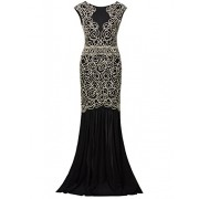 Vijiv 1920s Inspired Gatsby V Back Art Deco Beaded Maxi Evening Long Prom Dress - Dresses - $39.99