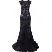 Vijiv 1920s Long Prom Dresses V Neck Beaded Sequin Gatsby Maxi Evening Dress - Dresses - $46.99