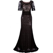 Vijiv 1920s Long Wedding Prom Dresses 2/3 Sleeves Sequin Beaded Party Formal Evening Gowns - Dresses - $49.99