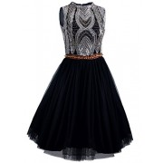 Vijiv 1920s Short Prom Dresses A Line High Neck Organza Beaded Homecoming Dress - ワンピース・ドレス - $41.99  ~ ¥4,726