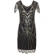 Vijiv Flapper Dress 1920s Gatsby Art Deco Sequin Embellished Dress with Sleeve - ワンピース・ドレス - $14.99  ~ ¥1,687