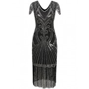 Vijiv Long 1920 Vintage Gatsby Beaded Embellished Fringe Cocktail Flapper Dress - Dresses - $29.99