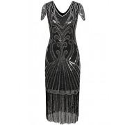 Vijiv Long 1920 Vintage Gatsby Beaded Embellished Fringe Cocktail Flapper Dress - Платья - $29.99  ~ 25.76€