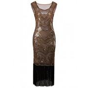 Vijiv Long Prom 1920s Vintage Fringe Sequin Art Nouveau Deco Flapper Dress - Dresses - $29.99