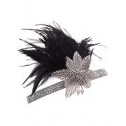 Vijiv Vintage Black Silver 20s Headpiece Flapper Headband 1920s Great Gatsby - Accessories - $7.99