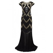 Vijiv Women's 1920s Beaded Flapper Dress Sequin Maxi Formal Wedding Evening Gown - Dresses - $39.99