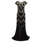 Vijiv Women's 1920s Beaded Flapper Dress Sequin Maxi Formal Wedding Evening Gown - Платья - $39.99  ~ 34.35€