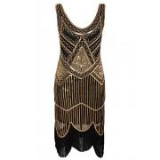 Vijiv Women's 1920s Gastby Inspired Sequined Embellished Fringed Flapper Dress - Dresses - $20.99