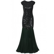 Vijiv Womens 1920s Inspired Cap Sleeve Beaded Sequin Gatsby Long Evening Prom Dress - ワンピース・ドレス - $19.99  ~ ¥2,250