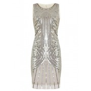 Vijiv Women's 1920s Sequined Inspired Beaded Gatsby Flapper Evening Dress Prom - Dresses - $29.99
