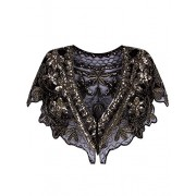 Vijiv Women's 1920s Shawl Wrap Art Deco Sequin Beaded Evening Cape Bolero Flapper Cover Up - Top - $17.99