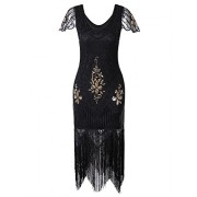 Vijiv Women's 1920s Vintage Gatsby Art Deco Sequin Beaded V Neck Long Cocktail Flapper Dress With Sleeves - Dresses - $35.99