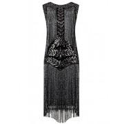 Vijiv Women's Flapper Dresses 1920s Gatsby Full Fringed Vintage Cocktail Dress - Dresses - $28.99
