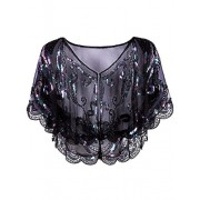 Vijiv Womens Vintage 1920s Shawl Beaded Sequin Deco Evening Cape Shrug Bolero Flapper Cover Up - Top - $17.99