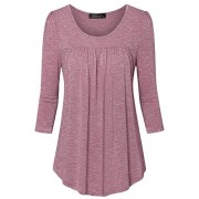 Vinmatto Women's 3/4 Sleeve Scoop Neck Front Pleated Tunic Top - Top - $39.99
