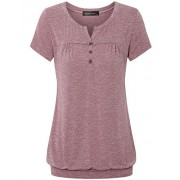 Vinmatto Women's Henley V Neck Pleated Button Details Banded Hem Blouse Top - Top - $39.99