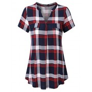 Vinmatto Women's Henley V Neck Short Sleeve Casual Plaid Tunic Shirt - Shirts - $39.99