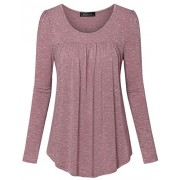 Vinmatto Women's Long Sleeve Scoop Neck Pleated Tunic Shirt - Long sleeves t-shirts - $39.99