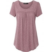 Vinmatto Women's Scoop Neck Pleated Blouse Top Tunic Shirt - Top - $39.99