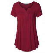 Vinmatto Women's Short Sleeve Henley V Neck Pleated Button Details Tunic Shirt Top - Top - $39.99