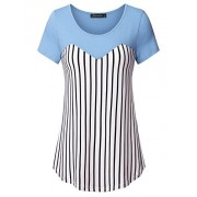 Vinmatto Women's Short Sleeve Stitching Striped Tops Contrast Tunic Shirt - Top - $39.99