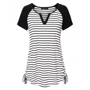Vinmatto Women's Short Sleeve V Neck Adjustable Drawstring Sides Shirring Striped Henley Shirts - T-shirts - $39.99