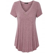 Vinmatto Women's Short Sleeve V Neck Flowy Tunic Top - Top - $39.99