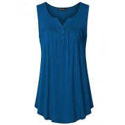 Vinmatto Women's Sleeveless Henley V Neck Pleated Button Details Tunic Shirt Tank Top - Top - $39.99
