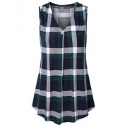Vinmatto Women's V Neck Sleeveless A Line Shirt Office Casual Plaid Tank Top - Top - $39.99