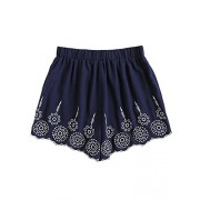 Vintage Floral Embroidery Shorts - Skirts - $14.99