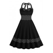 Vintage 1950s Rockabilly Polka Dots Audrey Dress Retro Cocktail Dress - Dresses - $25.99