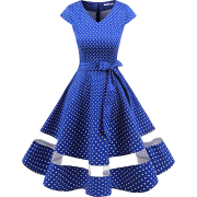 Vintage 1950s Rockabilly Polka Dots Cocktail Dress Cap Sleeve Retro Prom Party D - Dresses - £15.99