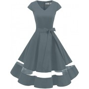 Vintage 1950s Rockabilly Polka Dots Cocktail Dress Cap Sleeve Retro Prom Party D - Dresses - £29.99