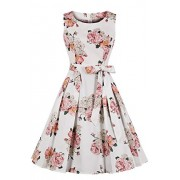 Vintage Classy Floral Sleeveless Party Picnic Party Cocktail Dress - Dresses - $24.99